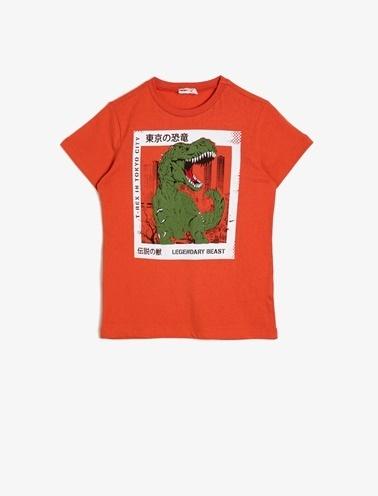 Koton Kids Baskili T-Shirt Oranj